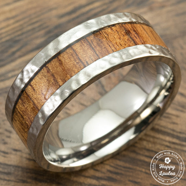 Hammered Titanium Ring with Hawaiian Koa Wood inlay - 8mm, Comfort Fitment, Flat Shaped