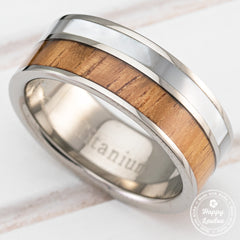 Titanium Ring with Hawaiian Koa Wood & Mother Of Pearl Shell Inlay - 8mm, Flat Shape, Comfort Fitment