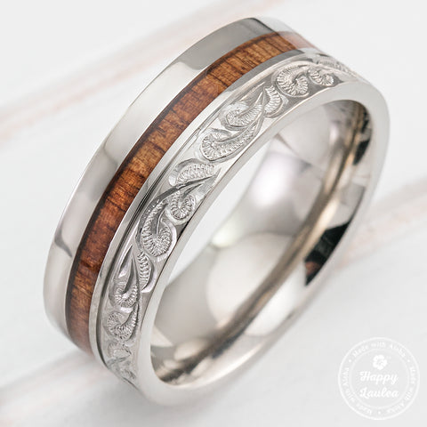 Titanium Hand Engraved Scroll Design Ring with Hawaiian Koa Wood Inlay - 8mm, Flat Shape, Comfort Fitment