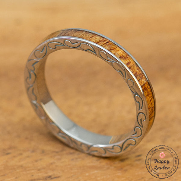 Titanium 3mm Hand Engraved Side Scroll Ring with Koa Wood Inlay, Standard Fitment, Flat Style