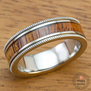 Titanium Coined Edged Ring with Hawaiian Koa Wood Inlay - 6mm, Flat Shape, Standard Fitment