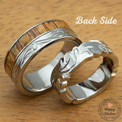 Diamond Titanium Floral Pattern Ring Set with Koa Wood Inlay