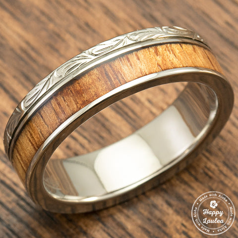 Titanium Hand Engraved Ring with Hawaiian Koa Wood Inlay - 6mm, Flat Shaped, Standard Fitment