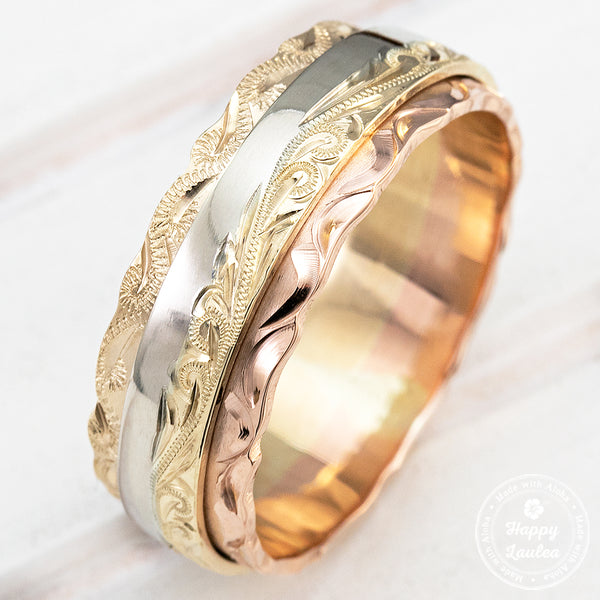 14K Gold Tri Tone 8mm width Hawaiian Jewelry Ring Hand Engraved Old English Design - Flat Shape, Standard Fitment