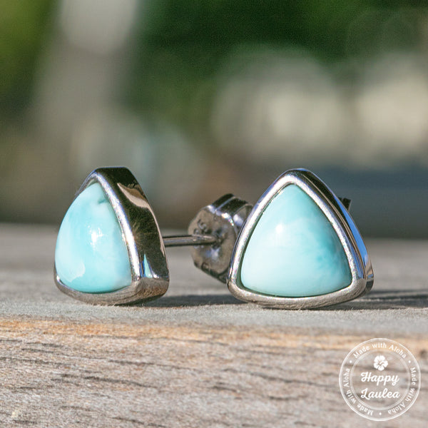 Triangle Shaped Sterling Silver Larimar Stud Earrings