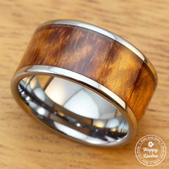 Tungsten Carbide Ring with Koa Wood Inlay, 12mm, Flat Shape,