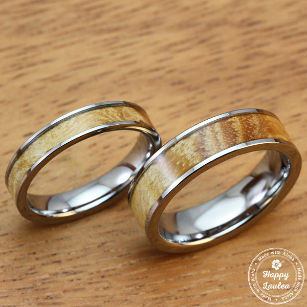 Pair of 4 & 6mm Tungsten Carbide Rings with Olive Wood Inlay - Flat Style, Comfort Fitment