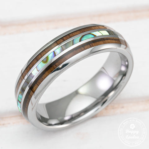 Tungsten Carbide Ring with Koa Wood & Abalone Shell Tri Inlay - 6mm, Dome Shape Comfort Fitment