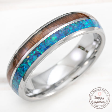 Tungsten Carbide 6mm Ring with Azure Opal & Koa Wood Duo-Inlay - Dome Shape, Comfort Fitment