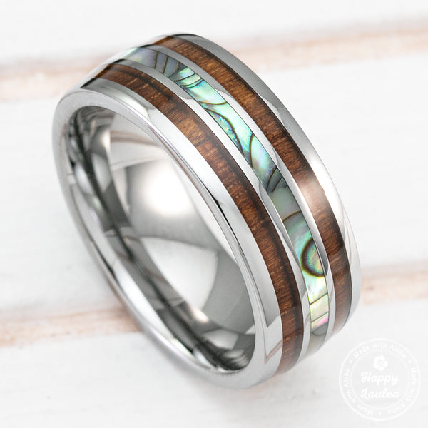 Tungsten Carbide Ring with Abalone Pau'a Shell and Hawaiian Koa Wood Tri Inlay - 8mm, Dome Shape Comfort Fitment