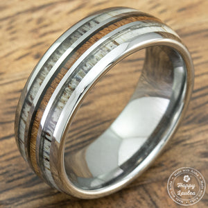 Tungsten Carbide Ring with Antler & Koa Wood Tri Inlay - 8mm, Dome Shape, Comfort Fitment