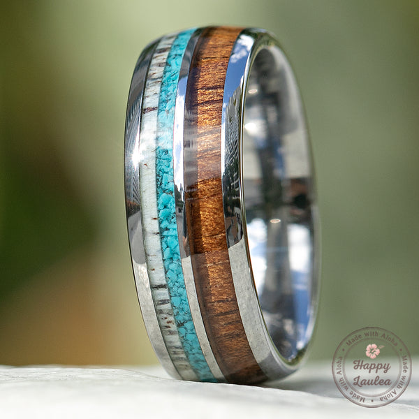 Tungsten Carbide with Antler, Turquoise, & Hawaiian Koa Wood - 8mm, Dome Shape, Comfort Fitment