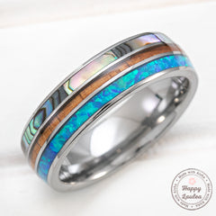 Tungsten Carbide 6mm Ring with Abalone Shell, Koa Wood, & Opal Tri- Inlay - Dome Shape, Comfort Fitment