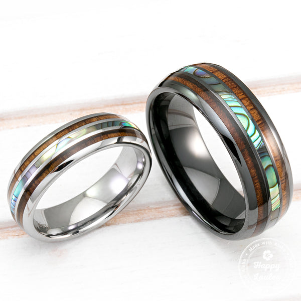 Black Ceramic and Tungsten Wedding Ring Set with Abalone Pau'a Shell and Koa Wood Tri Inlay - 6&8mm, Dome Shape, Comfort Fitment