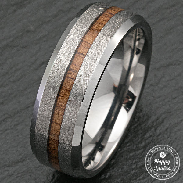Tungsten Carbide Cross Brush Finish Beveled Ring with Hawaiian Koa Wood Inlay - 8mm, Flat Shape, Comfort Fitment