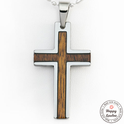 Tungsten Carbide Cross Pendant with Koa Wood Inlay