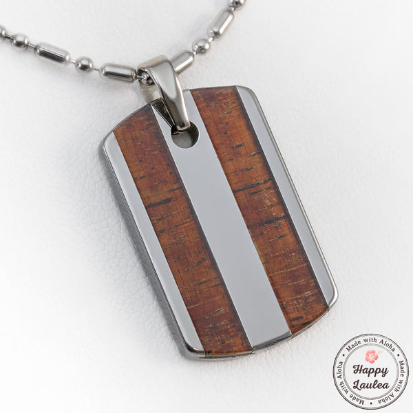 Tungsten Carbide Dog Tag Pendant with Duo Koa Wood Inlay
