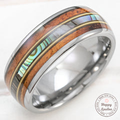 Tungsten Carbide 8mm Ring with Guitar String, Abalone Shell, & Koa Wood - Dome Shape, Comfort Fitment