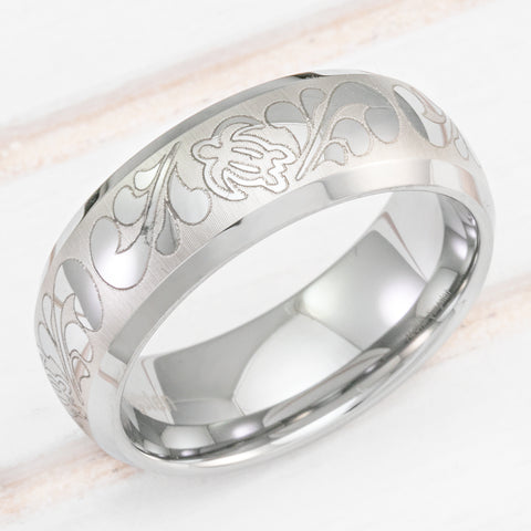Tungsten Carbide Beveled Edge Ring with Hawaiian Sea Turtle Design - 8mm, Dome Shape, Comfort Fitment