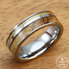 Tungsten Carbide 7mm Offset Strip Ring with Olive Wood Inlay - flat style, comfort fitment