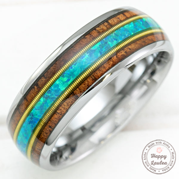 Tungsten Carbide 8mm Ring with Guitar String, Blue Opal, & Koa Wood - Dome Shape, Comfort Fitment