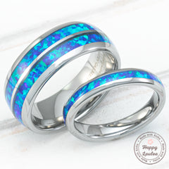 Pair of  3 & 8mm assorted Tungsten Carbide Rings with Blue Opal Inlay - Dome Shape, Comfort Fitment