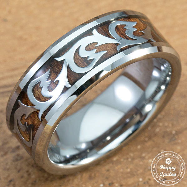 Scroll Wave Pattern and Koa Wood Inlay 8mm Tungsten Ring
