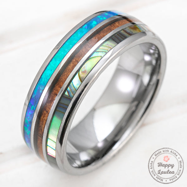 Tungsten Carbide 8mm Ring with Abalone Shell, Koa Wood, & Blue Opal Tri-Inlay - Dome Shape, Comfort Fitment