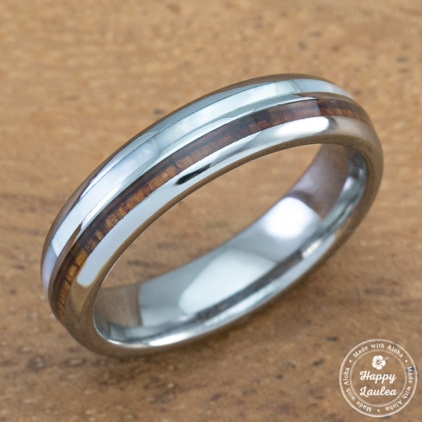 Tungsten Carbide Ring with Koa Wood & Mother of Perla Inlay - 5mm, Dome Shape, Comfort Fitment