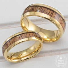 Pair of Tungsten Carbide Gold Plated Rings with Koa Wood Inlay - 6&8mm, Dome Shape, Comfort Fitment