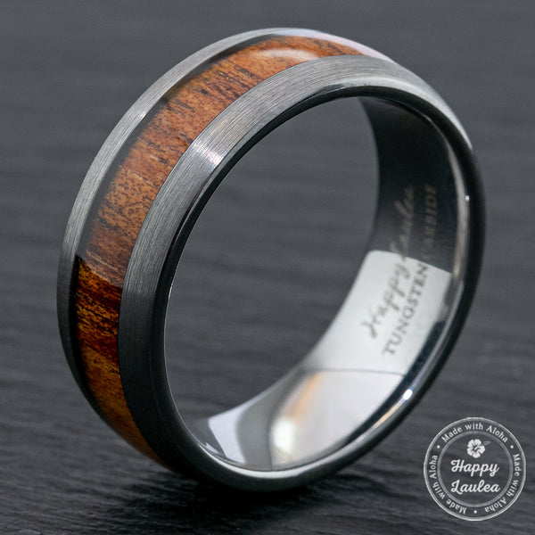 Tungsten Carbide Brushed Finish Ring - 8mm, Dome Shape, Comfort Fitment,