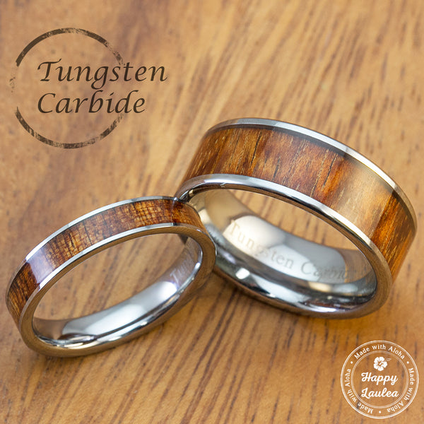 Pair of Tungsten Carbide Rings with Hawaiian Koa Wood Inlay - 4&8mm, Flat Shape Comfort Fitment