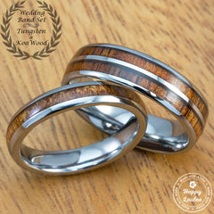Tungsten Assorted Ring Set with Hawaiian Koa Wood Inlay