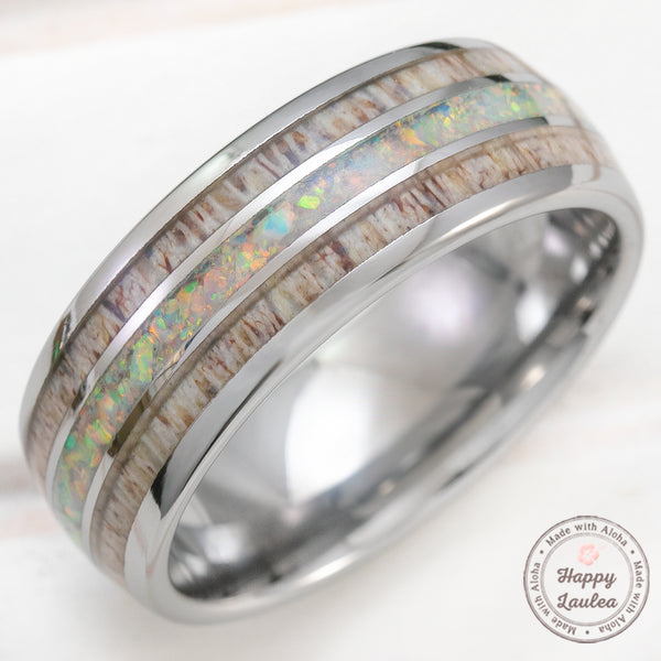 Tungsten Carbide 8mm Ring with White Opal & Antler Tri-Inlay - Dome Shape, Comfort Fitment