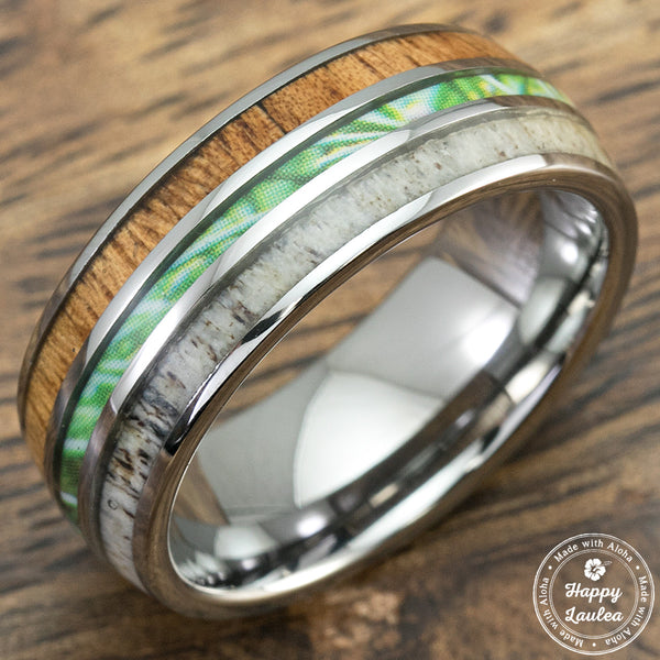 Tungsten Carbide Ring with Antler, Camo, and Koa Wood Inlay - 8mm, Comfort Fitment, Dome Shape