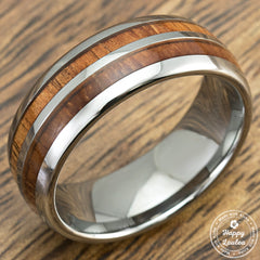 Tungsten Carbide Ring with Duo Koa Wood Inlay - 8mm, Comfort Fitment, Dome Shape