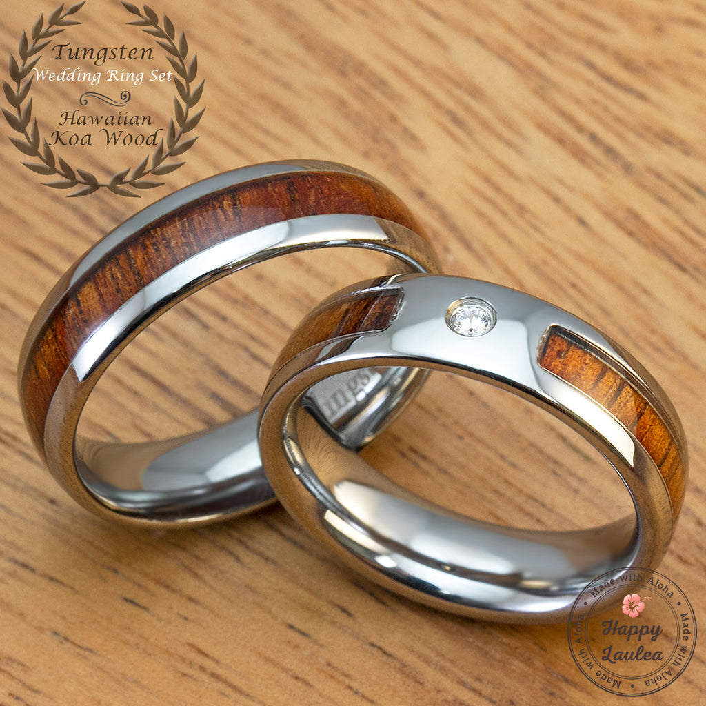 Pair of Tungsten Rings with Hawaiian Koa Wood Inlay - Assorted Set with Cubic Zirconia