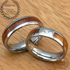 Pair of 6mm Assorted Tungsten Carbide Rings with Hawaiian Koa Wood Inlay - Dome Shape, Comfort Fitment