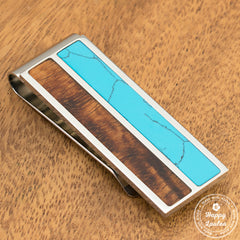 Solid Stainless Steel Money Clip with Turquoise & Koa Wood Inlay