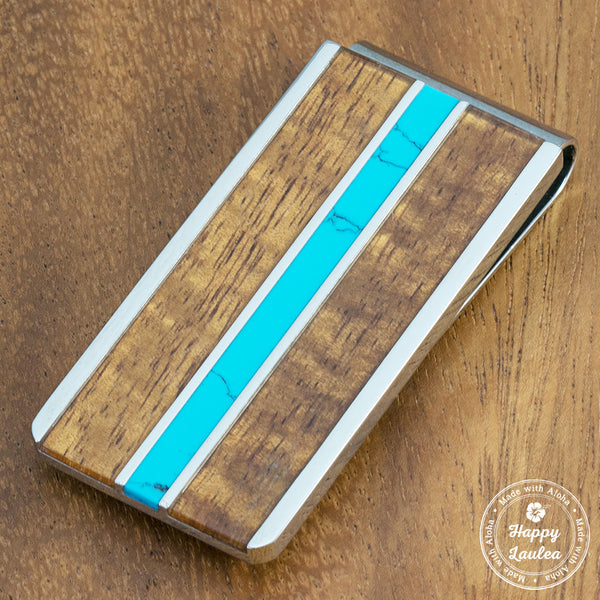 Stainless Steel Money Clip with Turquoise & Koa Wood Tri-Inlay