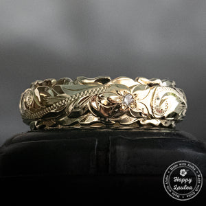 14K Gold 4x6mm Two Tone Ring with Hawaiian Hand Engraved Heritage Design