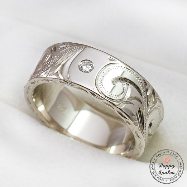 14k White Gold Hand Engraved Hawaiian Heritage Design Ring with .06ct Diamond -8x2mm, Flat Shape, Standard Fitment