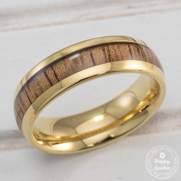 Tungsten Carbide Gold Plated Ring with Koa Wood Inlay - 6mm, Dome Shape, Comfort Fitment