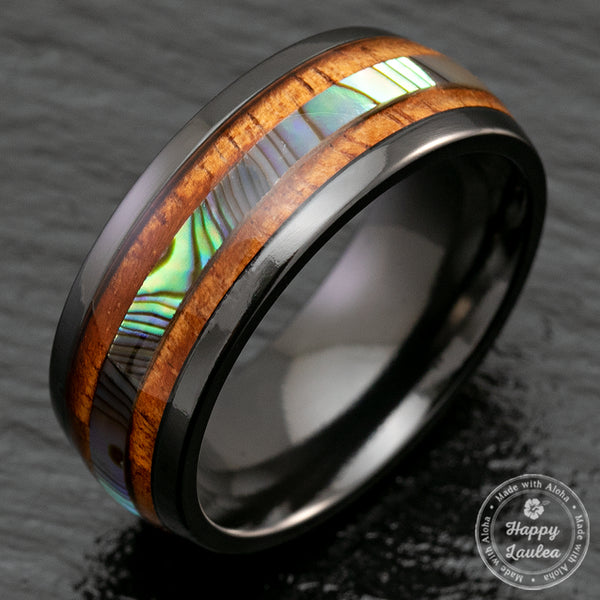 Black Zirconium 8mm Ring with Abalone Shell & Hawaii Koa Wood Inlay - Dome Shape, Comfort Fitment