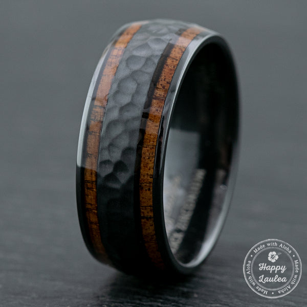 Zirconium Hammered Ring with Hawaiian Koa Wood Duo-Inlay / 8mm / Dome Shape & Comfort Fitment