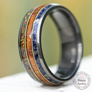 Zirconium with Fire Opal + Hawaiian Koa Wood + Lapis & Mid Guitar String Ring - 8mm, Dome Shape, Comfort Fitment