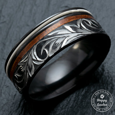 Black Zirconium 8mm Ring with Offset Guitar String & Koa Wood - Flat Shape, Comfort Fitment