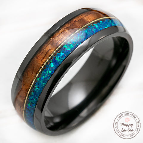 Black Zirconium 8mm Ring with Guitar String, Azure Opal, & Hawaiian Koa Wood - Dome Shape, Comfort Fitment