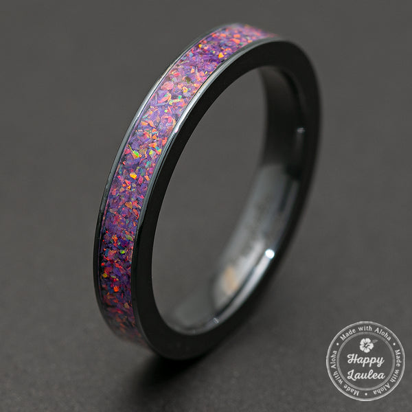 Zirconium Ring with Lavender Fire Opal Inlay / 4mm / Flat Shape / Comfort Fitment