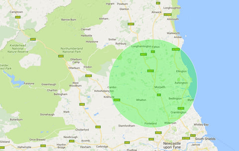 Delivery Map - Morpeth Logs 10 Mile Radius